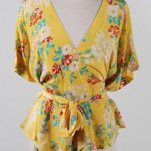 Yumi Kim Floral Silk Wrap V-Neck Kimono Shirt